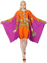 Moschino Printed Envers Satin Poncho Style Dress