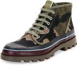 Valentino ID Camo Canvas Hiking Boot, Multicolor