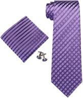 Landisun 20N Stripes Mens Silk Necktie Set:Tie+Hanky+Cufflinks