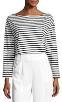 A.L.C. Audrie Long-Sleeve Striped Crop Boxy Tee, Black