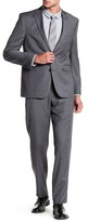 Vince Camuto Charcoal Woven Two Button Notch Lapel Wool Trim Fit Suit