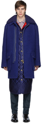 Paul Smith Navy Boiled Wool Oversized Coat