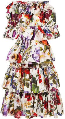 Dolce & Gabbana Off-the-shoulder Tiered Floral-print Silk-satin Gown