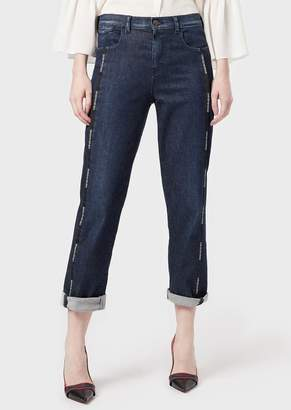 Emporio Armani J25 Jeans In Comfort Denim With Logoed Piping