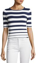 Pink Tartan Graduated-Stripe Knit Top, White/Blue