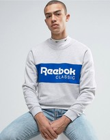 Reebok Archive Stripe Crew Sweatshirt In Grey Bk3829
