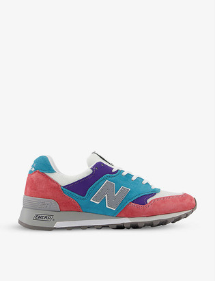 New Balance M577 panelled logo-embroidered suede and mesh trainers