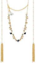 lonna & lilly Gold-Tone Crystal Vine and Tassel Choker Necklace