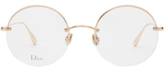 Christian Dior Stellaire Half-rim Round Metal Glasses - Womens - Rose Gold