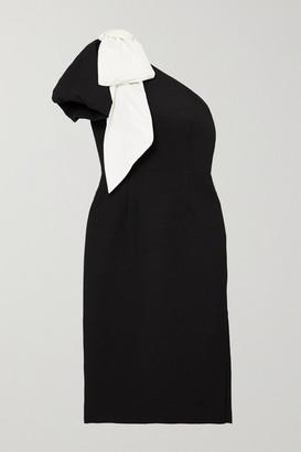 Rebecca Vallance Lavanda One-sleeve Bow-detailed Cloque Midi Dress - Black