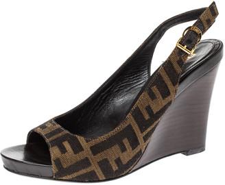Fendi Brown FF Canvas Wedge Open Toe Slingback Sandals Size 36