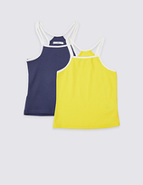 Marks and Spencer 2 Pack Cotton Vest Tops with Stretch (3-14 Years)