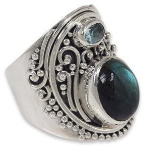 Novica Handmade Sterling Silver 'Misty Starlight' Labradorite Topaz Ring