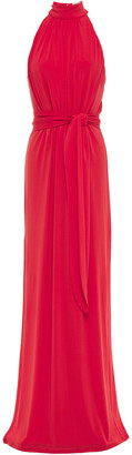 Halston Belted Gathered Jersey Gown