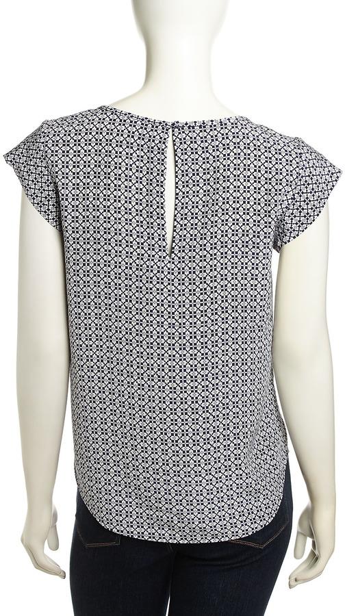 Joie Rancher Geometric Floral Print Blouse, Dark Navy/Gray