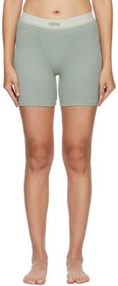 SKIMS Green Cotton Rib Boxer Shorts