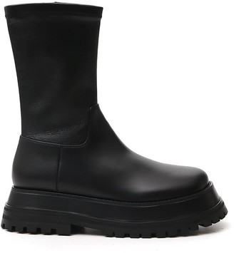 Burberry Hurr Chunky Sole Zip-Up Boots