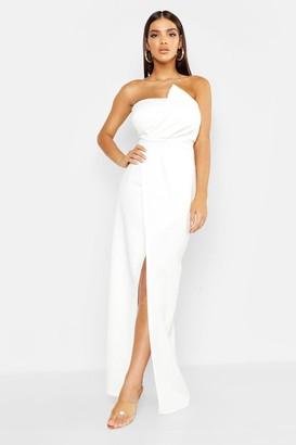 boohoo Bandeau Wrap Detail Maxi Dress