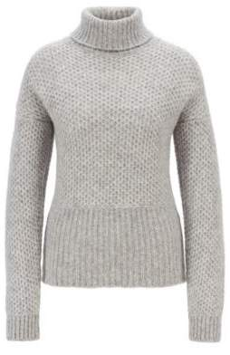 BOSS Relaxed-fit chunky-knit sweater with a turtleneck