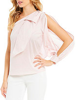 CeCe Bow-Tie One-Shoulder Poplin Blouse