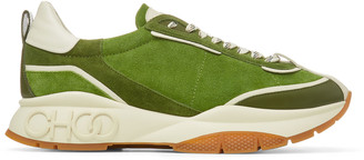 Jimmy Choo RAINE/M Army Mix Soft Suede and Leather Lace Up Trainers