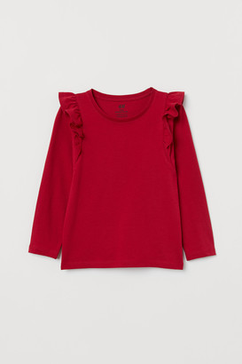 H&M Ruffle-trimmed Jersey Top