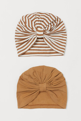 H&M 2-pack Cotton Turbans - Beige