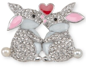 Charter Club Holiday Lane Silver-Tone Pave & Imitation Pearl Kissing Bunny Pin, Created for Macy's