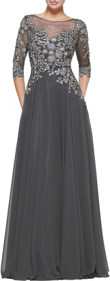 Marsoni Metallic Lace & Chiffon A-Line Evening Gown