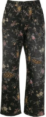 R 13 floral print denim jeans
