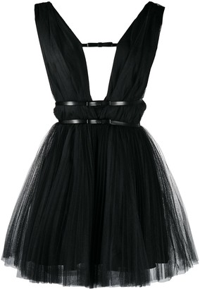 BROGNANO Deep-V Neck Tulle Dress