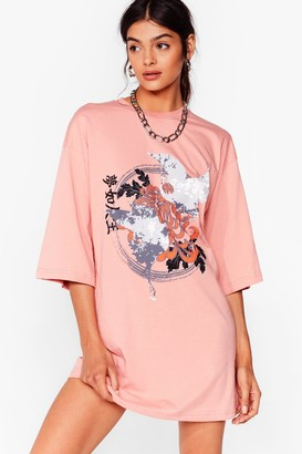 Nasty Gal Womens Just Wing It Floral Graphic Tee Dress - Coral