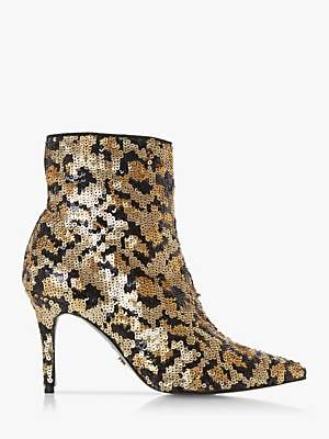 Dune Olivine Printed Sequin Stiletto Heel Ankle Boots, Multi Leopard