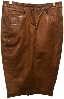 Just Cavalli Brown Leather Skirt for Women