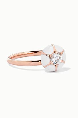 Selim Mouzannar 18-karat Rose Gold, Enamel And Diamond Ring - 52