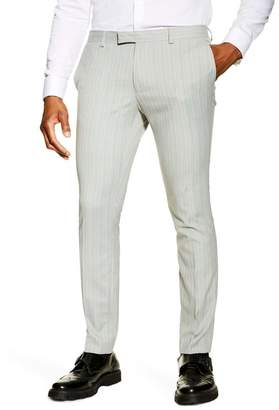 Topman Super Skinny Fit Pinstripe Suit Dress Pants