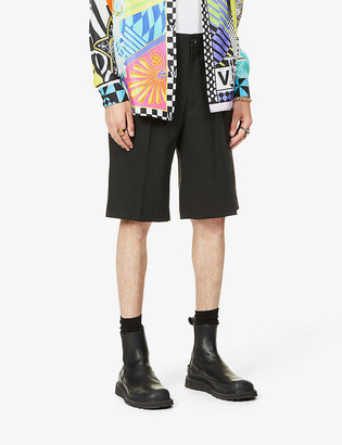 Versace Detachable-bag wide wool shorts