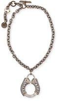 Lanvin Chain Crystal Pendant Necklace