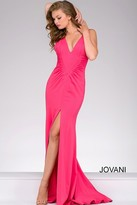 Jovani Long V Neck High Slit Prom Dress 42038