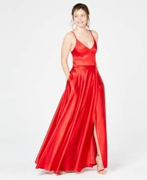 Sequin Hearts Juniors' Double-Strap Satin Gown