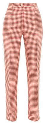 Giuliva Heritage Collection The Altea Houndstooth Linen Trousers - Red White