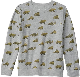 Chaser Tractor Toss Cozy Knit Crew Neck Pullover Sweater (Little Kids/Big Kids) (Heather Grey) Boy's Clothing