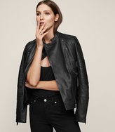 Reiss Taylor - Collarless Leather Jacket in Black, Womens