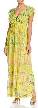 HEMANT AND NANDITA V-Neck Beaded Maxi Dress