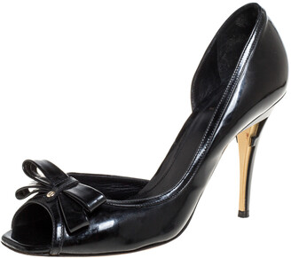 Fendi Black Patent Leather Peep Toe Bow Pumps Size 39