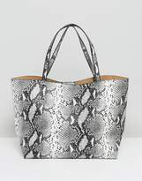 Glamorous Tote Bag In Grey Faux Snake