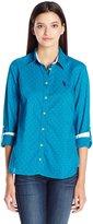 U.S. Polo Assn. Juniors' Long Sleeve Print Poplin Woven Shirt