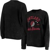 G Iii Women's G-III Sports by Carl Banks Black Portland Trail Blazers Slouchy Comfy Cord Crewneck Pullover Sweatshirt