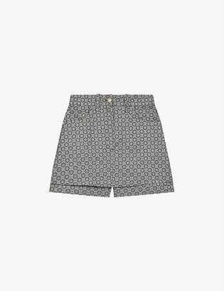 Maje Impery metallic jacquard crepe shorts