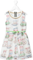 MonnaLisa tea print dress - kids - Cotton/polyester - 2 yrs